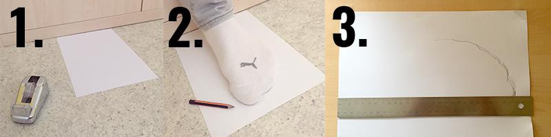 Fußlänge für die Größentabelle messen